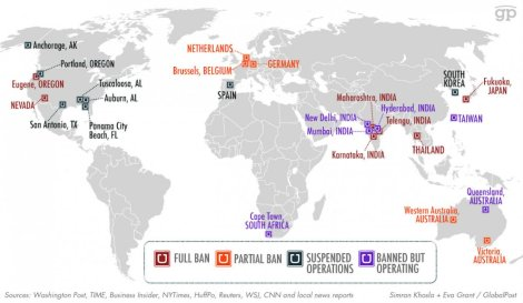 Paises que han prohibido a Uber (datos del 8 de Abrirl). Foto: Business Insider