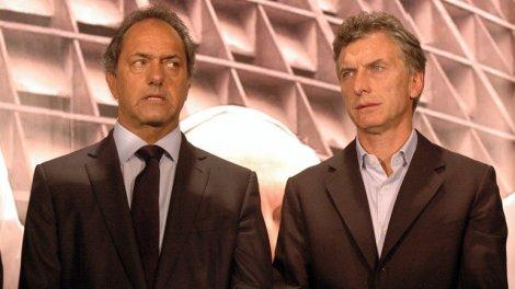 Candidatos finales a la Presidencia. Scioli izquierda, Macri derecha. Foto: RadioPalihue
